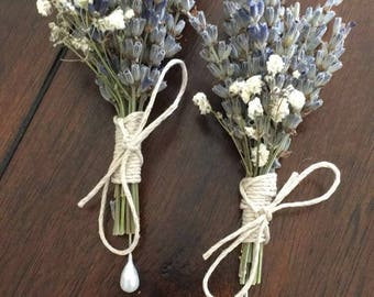Rustic Lavender and Baby's Breath Boutonnière / Corsage