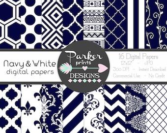 Navy and White Digital Paper Pack, Seamless Patterns, Scrapbooking, Printable, Instant Download, Damask, Fleur-De-Lis, Tribal, Vines, Stripe