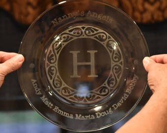 Personalized Etched Glass Plate