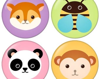 Flat Lovely Animal Avatar No2 set of four size 1.25 inch