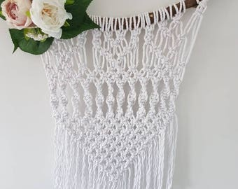 Macrame wall hanging, floral, bohemian, string, artificial flowers, wood, branch, boho, nature