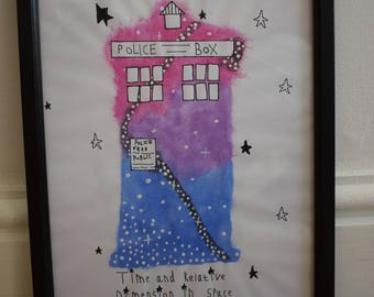 Doctor Who TARDIS framed watercolour
