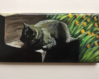 Hand painted tile, Cat in the garden