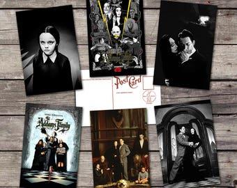The Adams family set 6 postcards | halloween poster |  vintage gothic print | movies illustration | uncle fester  |  PaperBunnyShop