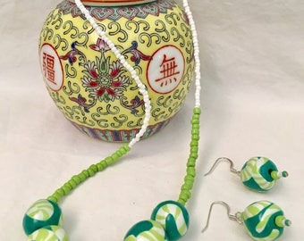 Polymer Clay Round Beaded Necklace/Earring Set
