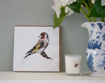 Gold Finch watercolour greetings card