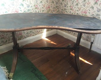 Antique Kidney Shaped Leather Inlay Writing Table