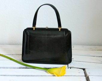 Vintage snakeskin leather handbag from the 60s