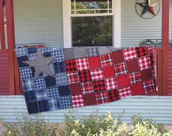 "Texas Flag Rag Quilt, Handmade Cotton Flannel Quilt, Twin XL Size, 68"" x 102"""
