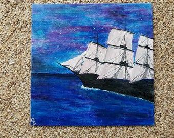 Open Waters/ ship sailing/ acrylic painting/ original / 10x10