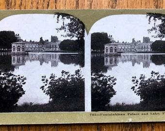 "Stereoscope Stereoview 3D Photo Card 1800 Era Metropolitan Series No 703  ""Fontainebleau Palace France"""