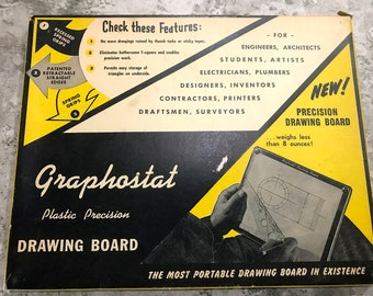 Vintage Graphostat Drawing and Drafting Board 1950 Era with Original Box