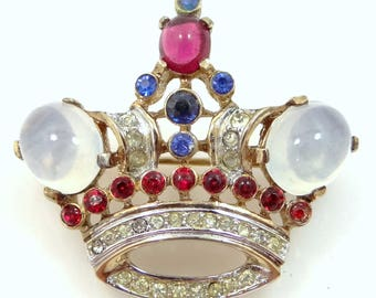 Trifari 1940's Alfred Philippe Moonstone Glass Crown Pin
