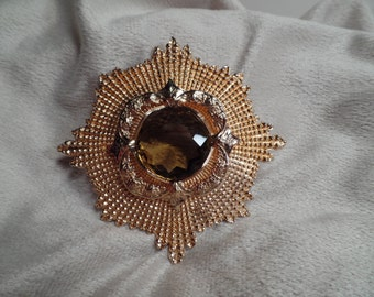Large Military Style Brooch with Olive Colored Stone
