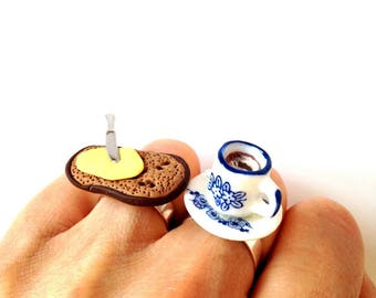Double Ring WHOLEBREAD BREKKIE -- polymer clay, ceramic, double ring by The Sausage