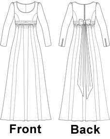 Regency Style Dress/Costume Sewing Pattern - Sizes 8-22 UK - Download PDF