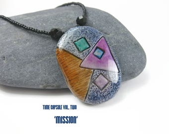 Geometric Abstract Art Necklace, Unique Handmade Pendant, Time Capsule Volume Two