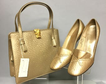 Deadstock Vintage 1960's Moiree LEATHER HandBag, MOD 60s Purse and Matching GOLD Shoes Set, Size 5 B, Unworn