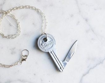 Key Shaped Silver Toned Pocket Knife Necklace