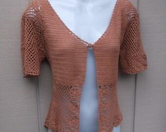 Vintage 90s Dusty Rose Cotton CROCHET Short Sleeve Cardigan Sweater / lacey knit Romantic Boho Victorian Cardigan / Ladies Sml