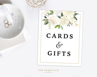 Cards and Gifts Sign | 8x10 | Watercolor, Floral, White, Gold - BRYNNE Collection - Printable, Digital PDF File