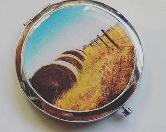 Saskatchewan Hay Bales Compact Mirror