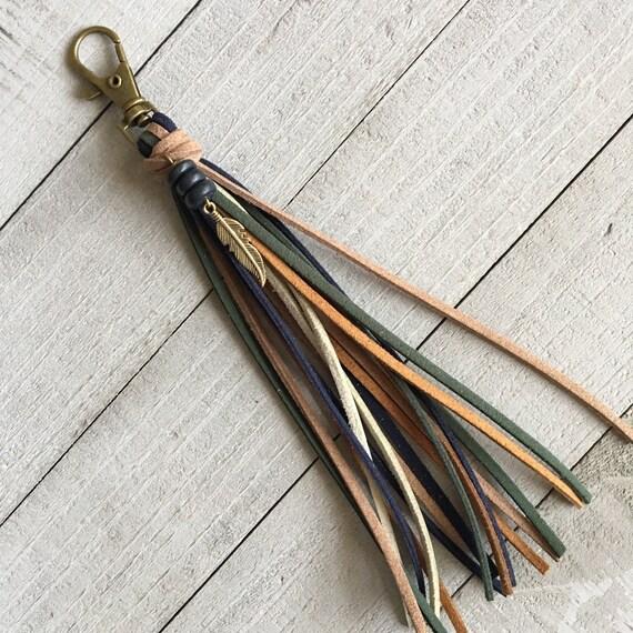 Purse Tassel Key Chain Bag Handbag Charm Zipper Pull - Brown Navy Green + Feather Charm Boho Hippie Gypsy Cowgirl Gift for Her (KC221)