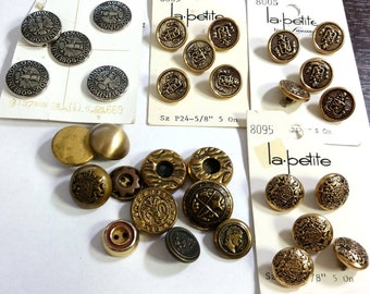 31 Vintage Metal Buttons Goldtone Silver Tone Anno Domini Tyrol Mixed Lot