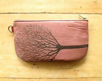 Tree Phone Pouch Pink Leather and Black Suede