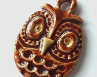 Owl Pendant, Ceramic Owl, Owl Jewelry, Clay Owl, clay pendant, OOAK Owl, Jewelry Owl, Ceramic Pendant