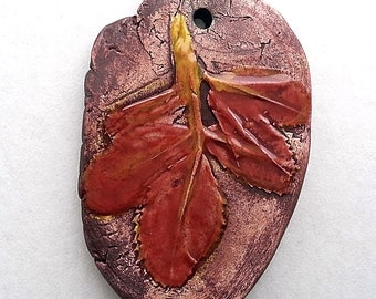 Pendant Handmade Ceramic Red Alfalfa Leaves Oval  Rustic by Mary Harding
