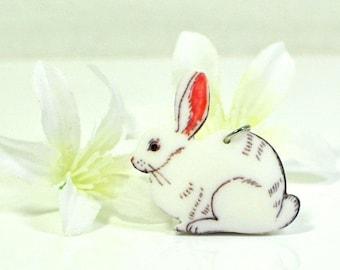 White Rabbit Bunny Necklace Moonflower - Bunny Pendant - Rabbit Jewelry - Bunny Rabbit Inspired - Pet Bunny