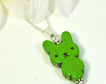 Kawaii Bunny Necklace Fern - Green Bunny Rabbit - Rabbit Necklace - Bunny Pendant -Rabbit Jewelry -Bunny Jewelry -Easter Necklace -Pet Bunny
