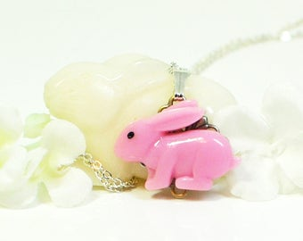 Kawaii Necklace Rabbit Pendant Necklace Hopster - Bunny Necklace - Kawaii Bunny Rabbit - Rabbit Jewelry - Pet Bunny Rabbit - Bunny Pendant
