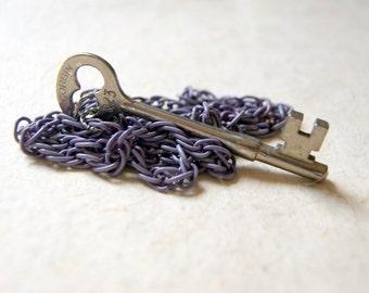 Vintage Skeleton Key Necklace with Vintage Dusty Purple Enameled Chain - antique skeleton key necklace, bohemian jewelry, boho chic