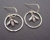 Sterling silver earrings Honey bee charm in Argentium Sterling Silver hoops  dangle drop sterling silver ear wires