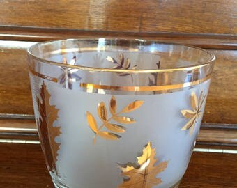 Authentic Libbey Glass Ice Bucket Clear Glass Gold Leaves Heavy Glass Vintage Barware Ice Cooler Gold Trim