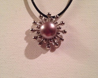 Pearl of Sunrise. Stylish sun and pearl pendant leather necklace handmade