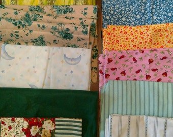 Cotton fabric remnants and yardage, large flat rate box full