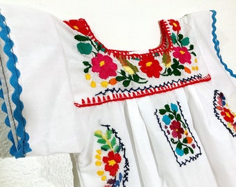 Mexican Baby Dress Embroidered White Fiesta Flower Girl Toddler Dress - Size 12 Months
