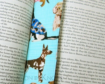 Dog Bookmark - light blue double sided fabric page marker for dog lovers