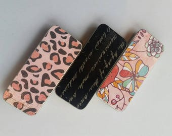 Trio of long thin tins. . . Pink Cheetah, Black writing, and flowers