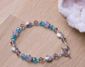Blue bead bracelet - Opalite spiral pretty twinkle bead bracelet | Beaded bracelet | Blue and grey bracelet | Opalite jewelry gift for her