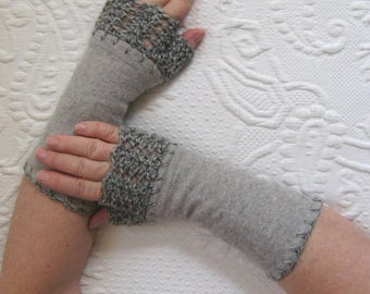 Fingerless Gloves . grey cashmere gloves . grey fingerless cashmere gloves