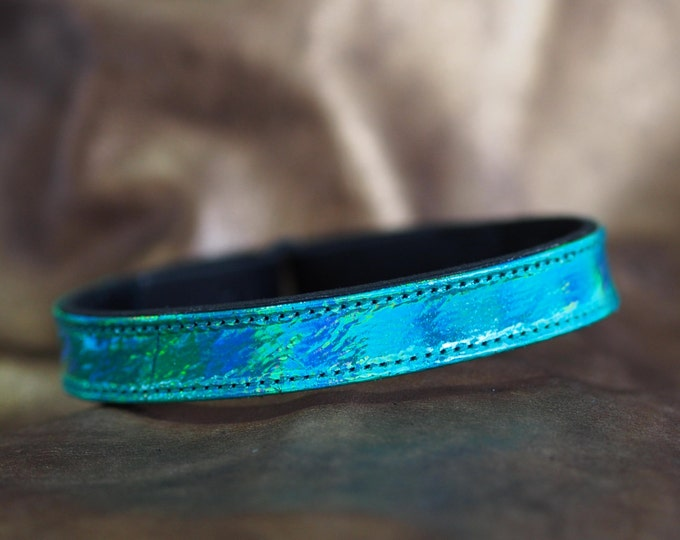 Iridescent Green  Leather Show Brow Band