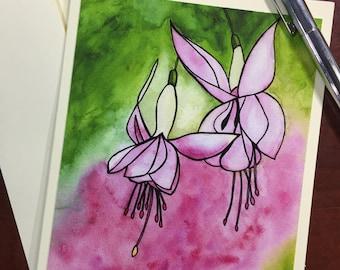 Fuschia Flowers Original Watercolor Print - Note Card