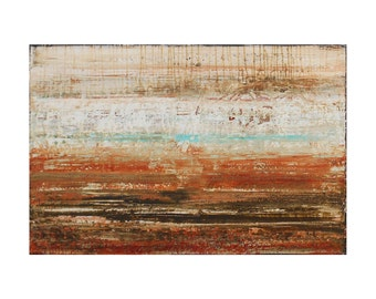 ORIGINAL Abstract Painting on Canvas in Warm Earth Tones, Dew Point by Lisa Carney, Contemporary Landscape Art, Rust, Brown, Rustic Art