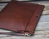 Extra Large Leather Zipper Portfolio  / Ready to Ship / Mens Zipper Bag / Leather Clutch / Large Zipper Clutch / Feral Empire