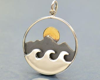 Mountain Range and Ocean Waves Pendant with bronze sun - Travel Jewelry - Mixed Metals  Mountains - DIY Jewelry- Add to your necklace- Beach