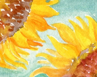 ACEO original Sunflowers watercolor paintings, aqua, Small Flower Artwork, Sunflower Art Card, turquoise miniature painting, SharonFosterArt